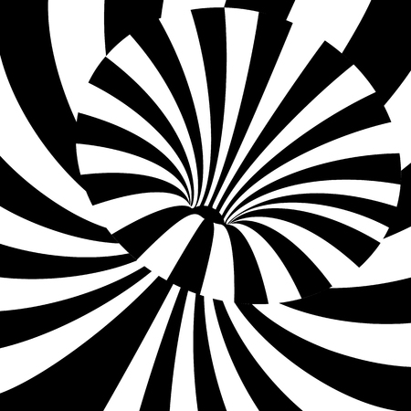 Black and white wave lines background. Abstract optical illusion backdrop. Op art vector illustration