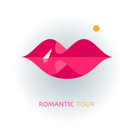 Beautiful female lips. A creative sign for traveling. Concept with mountains, lake and sun