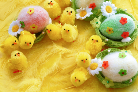Baby yellow Easter toys chicks and eggs on a background of feathers. Festive greeting card