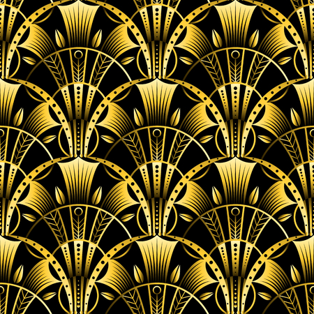 Antique vector seamless shell gold art deco pattern. Geometrical wavy background from golden fan