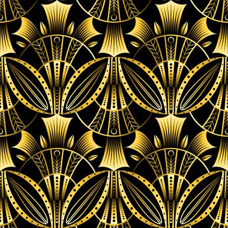 Modèle art déco or coquille transparente vecteur antique. Fond ondulé géométrique de fan de lotus doré