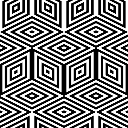 Abstract vector seamless moire pattern with cubic lattice lines. Monochrome graphic black and white ornament.
