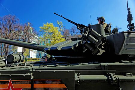 ST.PETESBURG, RUSSIA - MAY 09, 2018: Russian military equipment near the Hermitage. Military parade in honor of the Victory Day in St. Petersburg, Russia. 에디토리얼
