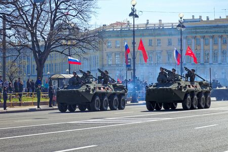 ST.PETESBURG, RUSSIA - MAY 09, 2018: Russian military equipment near the Hermitage. Military parade in honor of the Victory Day in St. Petersburg, Russia. 스톡 콘텐츠 - 136344887