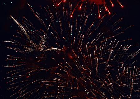 Colorful fireworks on dark night sky background. Holiday light