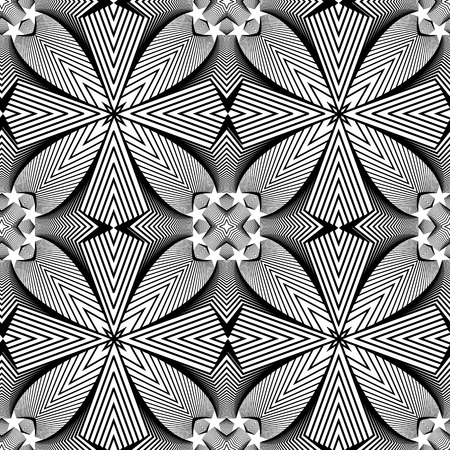 Abstract vector seamless moire op art star pattern. Monochrome graphic black and white ornament