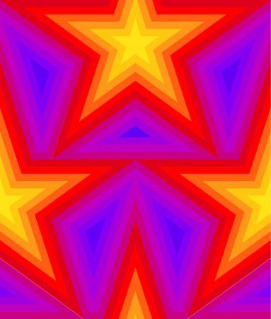 Abstract vector seamless op art star pattern. Colorful pop art, graphic ornament. Optical illusion