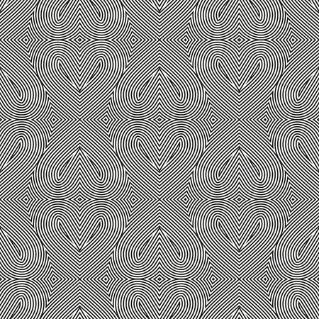 Abstract vector seamless op art hearts pattern. Line art, graphic ornament. Optical illusion