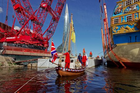 SAINT-PETERSBURG, RUSSIA - 27 MAY 2018: Ceremony of launching a replica of the ancient Russian ship of Tsar Peter I Poltava in Historical Shipyard. 스톡 콘텐츠 - 136344919