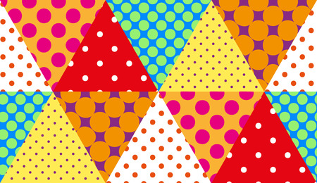 Seamless retro patchwork background pattern of triangles in rustic style. Colorful polka dots on triangles backdrop