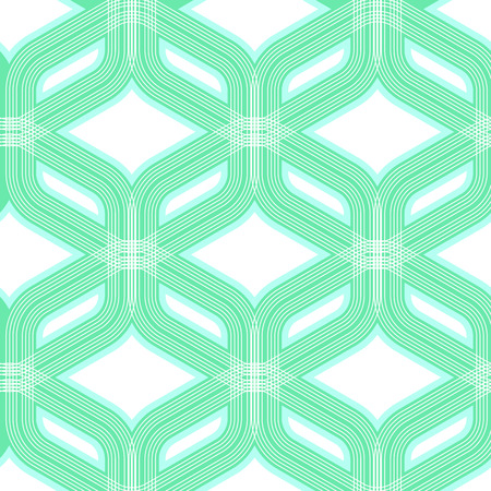 Abstract vector seamless pattern. Monochrome graphic aquamarine and white ornament. Vintage repeating texture
