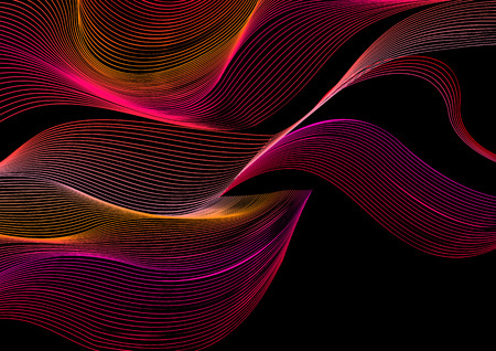 Abstract vector moire pattern with lines. Graphic red and pink wave ornament on black background