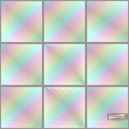 Hologram gradient set backgrounds. Trendy hipster colorful texture in pastel or neon color design. Template for label, design cover, book, gift card Illustration