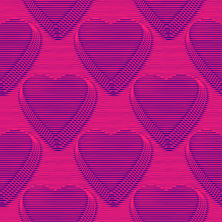 Abstract vector hearts seamless moire pattern with lines