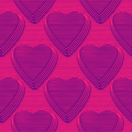 Hearts seamless moire pattern with lines