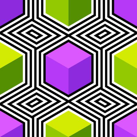 Modèle d'art abstrait vectoriel sans soudure. Pop art coloré, ornement graphique. Illusion d'optique. Vecteurs