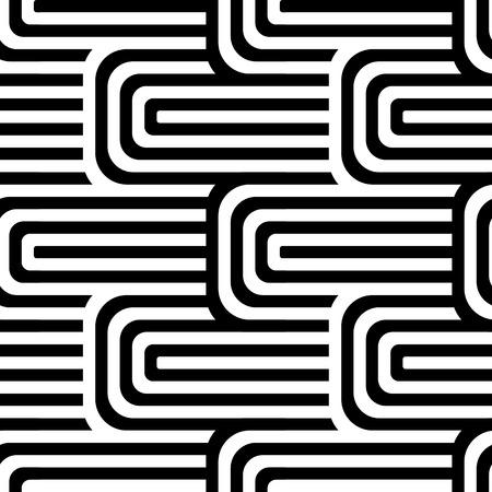 Modello di arte op senza giunte di vettore astratto. Pop art in bianco e nero, ornamento grafico. Illusione Ottica. Vettoriali