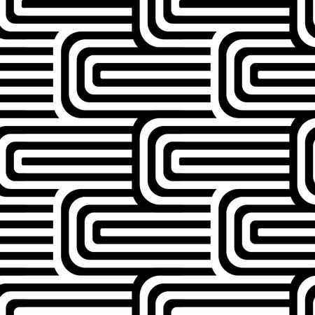 Abstract vector seamless op art pattern. Black and white pop art, graphic ornament. Optical illusion. Illustration