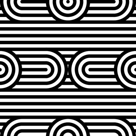 Abstract vector seamless op art pattern. Black and white pop art, graphic ornament. Optical illusion. Banco de Imagens