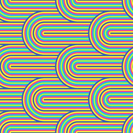Patrón de vector abstracto sin fisuras op art. Arte pop colorido, adorno gráfico. Ilusión óptica de los 70 Ilustración de vector