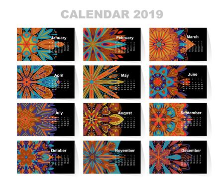 Calendar for 2019 year. Vintage decorative mandala elements. Week starts on sunday. Vintage style template for your design. Stok Fotoğraf
