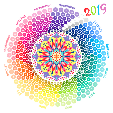 Round calendar 2019 in the colors of the spectrum on white background