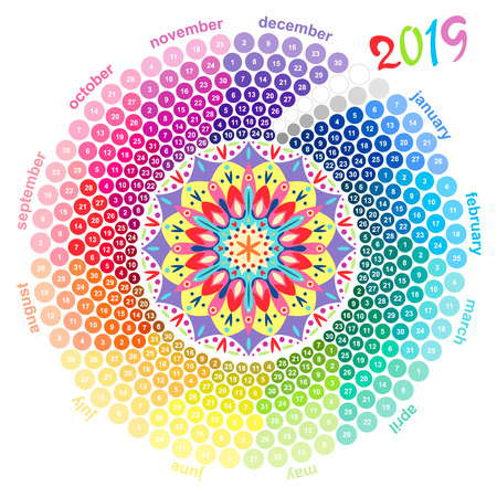 Round calendar 2019 in the colors of the spectrum on white background Stock Photo