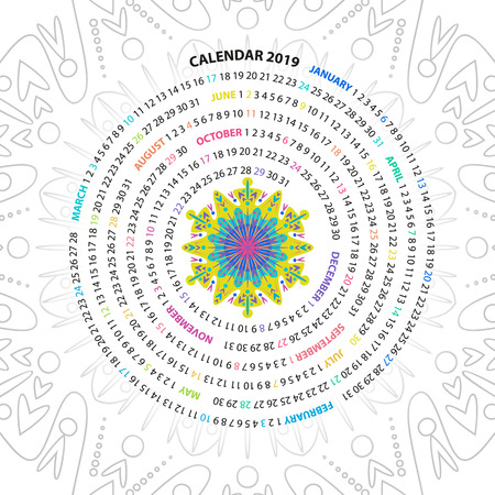 Archimedean spiral calendar for 2019 year. with round mandala floral pattern. Vintage style template for your design 스톡 콘텐츠
