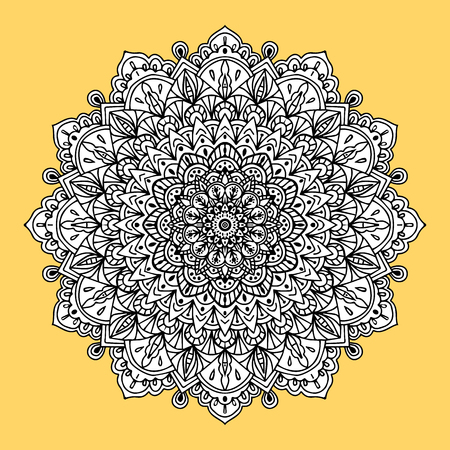 Background with ornament mandala in gold color. Round arabesque design element. Template for invitation, book cover or flyer Illustration