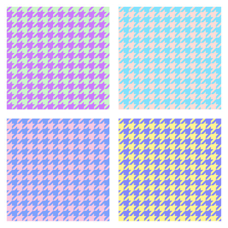 Set of seamless duotone textile patterns. Chekered ornament houndstooth, hounds tooth check, hounds tooth, dogstooth, dogtooth, dogs tooth or pied-de-poule