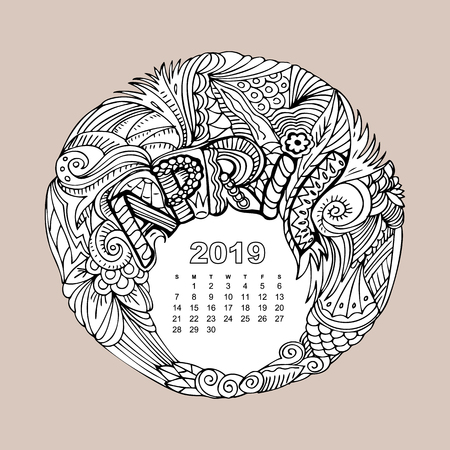 New year calendar grid with lettering April in zentangle inspired style. Christmas mandala. Zen monochrome graphic Stock Photo