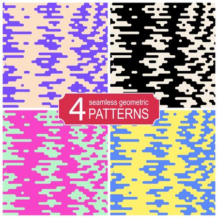 Set of seamless halftone transition vector patterns in retro color palette. Vintage fashion style Çizim