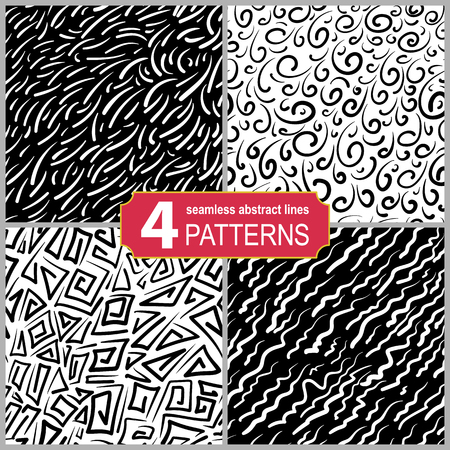 Set of hand drawn seamless linocut patterns. Abstract shabby textured background