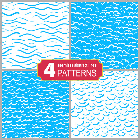 Set of hand drawn seamless marine lines patterns. Abstract shabby textured background