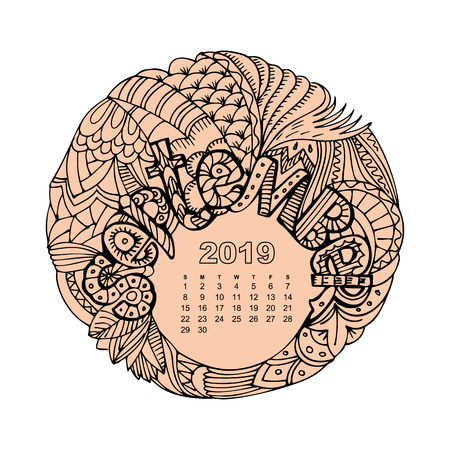 New year calendar grid with lettering September in  inspired style. Christmas mandala. Zen monochrome graphic
