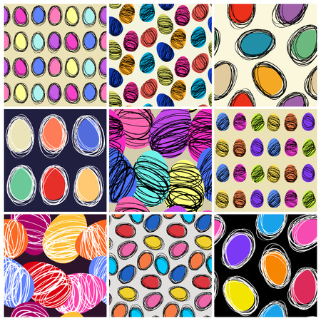 Set of seamless vector patterns with hand drawing eggs. Easter holiday background of doodle holiday symbol