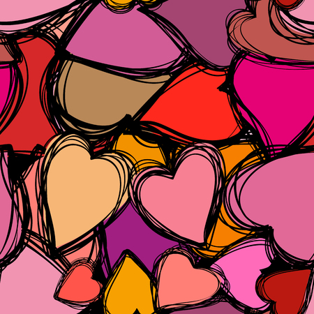 Doodle hearts seamless background. Retro holiday backdrop for Valentine Day