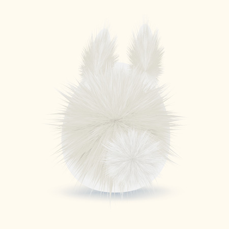 Fur fluffy cute bunny for Easter. Cartoon rabbit. Vector illustration. Greeting card design