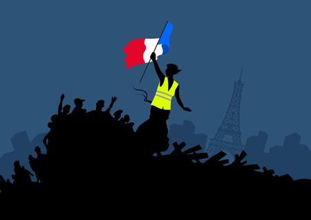 Yellow vests protest movement graphics on cityscape and Eiffel tower. Woman freedom and french flag on the barricade. Social theme vector illustration.