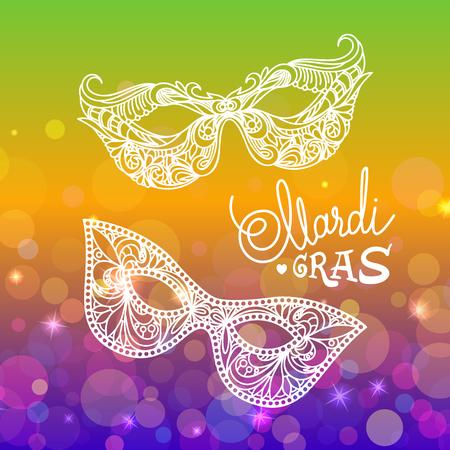 Mardi Gras carnival mask on bokeh background. Vector illustration EPS10.