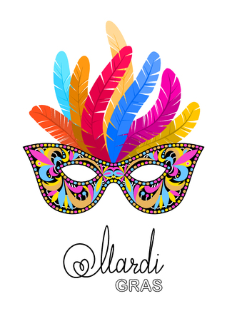 Mardi Gras mask with feathers on white background. Vector illustration EPS10.