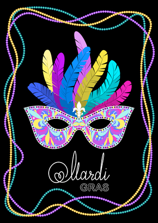 Mardi Gras mask with feathers on a colored bead frame on black background. Vector illustration EPS10.  イラスト・ベクター素材