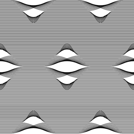 Abstract vector seamless op art pattern. Monochrome moire graphic ornament.