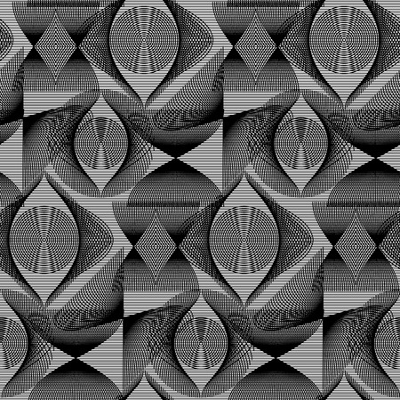 Abstract vector seamless op art pattern. Monochrome graphic ornament. Illustration