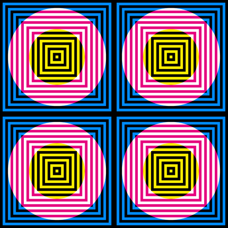 Abstract vector seamless op art pattern. Colorful disco ornament. Optical illusion.