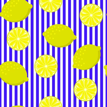 Seamless lemon on blue and white stripes. Vintage fruits background.