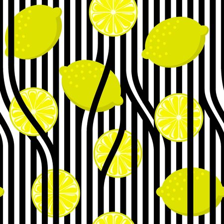 Seamless lemon on black and white stripes. Vintage fruits background.