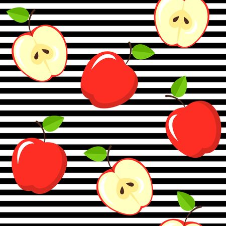 Seamless apple pattern on black and white stripes. Vintage fruits background. Stok Fotoğraf