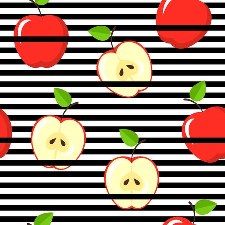 Seamless apple pattern on black and white stripes. Vintage fruits background. Çizim