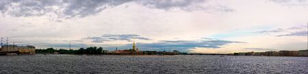 Peter and Paul fortress panoramic view. Saint-Petersburg, Russia. Ships on Neva river Stok Fotoğraf